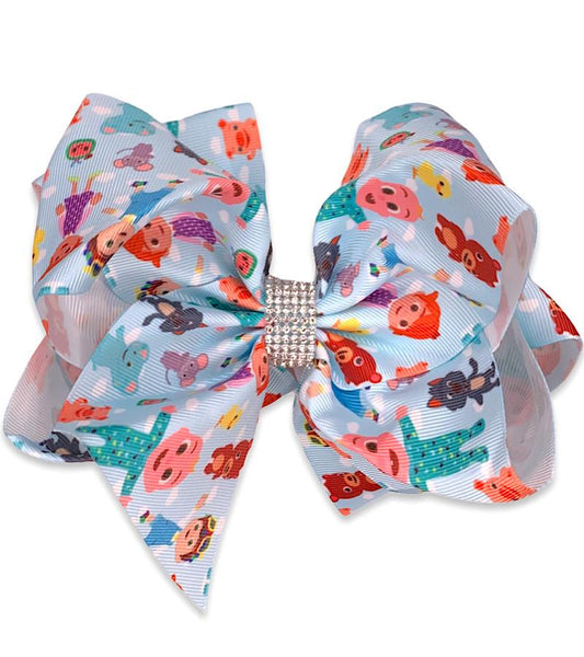 Cocomelon Girls Hair Bow  - Girls Big Double Stacked 7 in Bow.  - Rhinestone Cocomelon JJ Bow for  Baby, Toddler and Girls