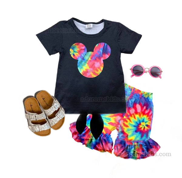 Mickey Mouse Minnie Mouse girls outfit Tie Dye Minnie Set Pants Rainbow Disney girls baby clothes