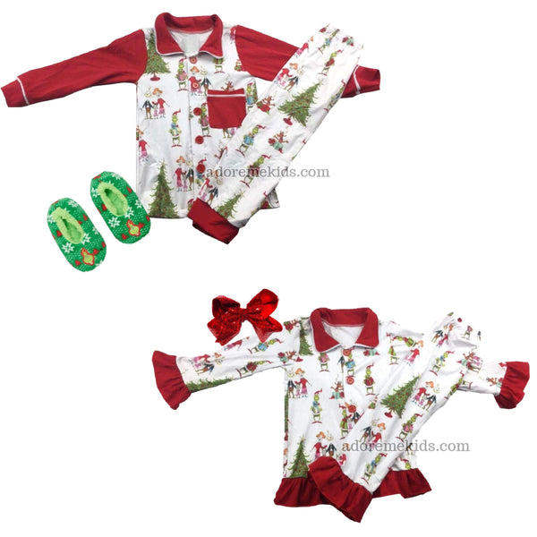 Grinch Matching Christmas Pajamas - Girls Boys Boutique PJ's Clothes Set