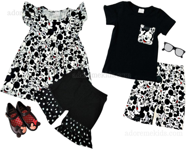 mickey mouse minnie mouse clothes outfit boutique girls clothes dress disney black and white mickey set