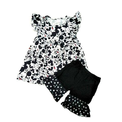 Mickey Mouse Minnie Girls Outfit - Black and White Mickey Mouse Set - Boutique Clothes for Baby, Toddler and Kids