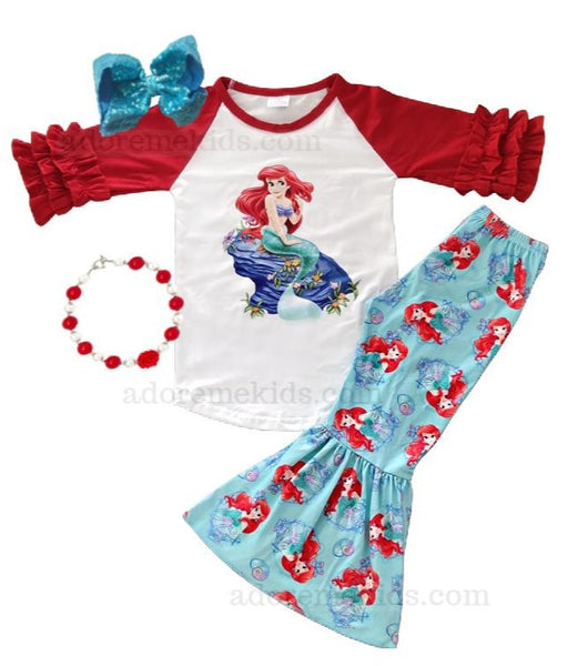 Little Mermaid Ariel Girls Outfit - Princess Disney Bell Bottom Pants set - Boutique Fall Winter Clothes for Baby Toddler