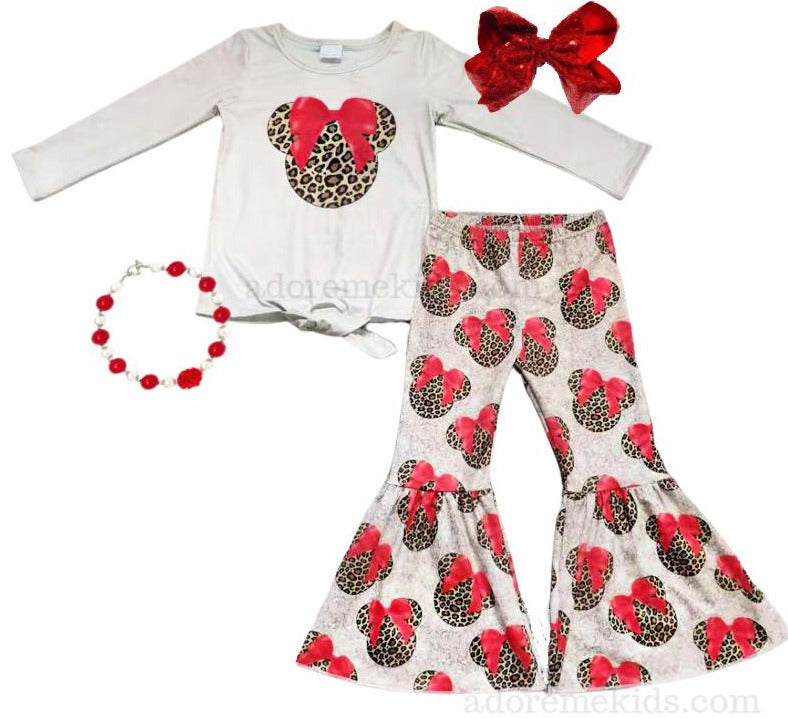Minnie Mouse Leopard Girls Outfit - Fall Minnie Mouse Boutique Winter Set -  Disney Long Sleeve Bell Bottom Pant Set for Baby, Toddler and Girls