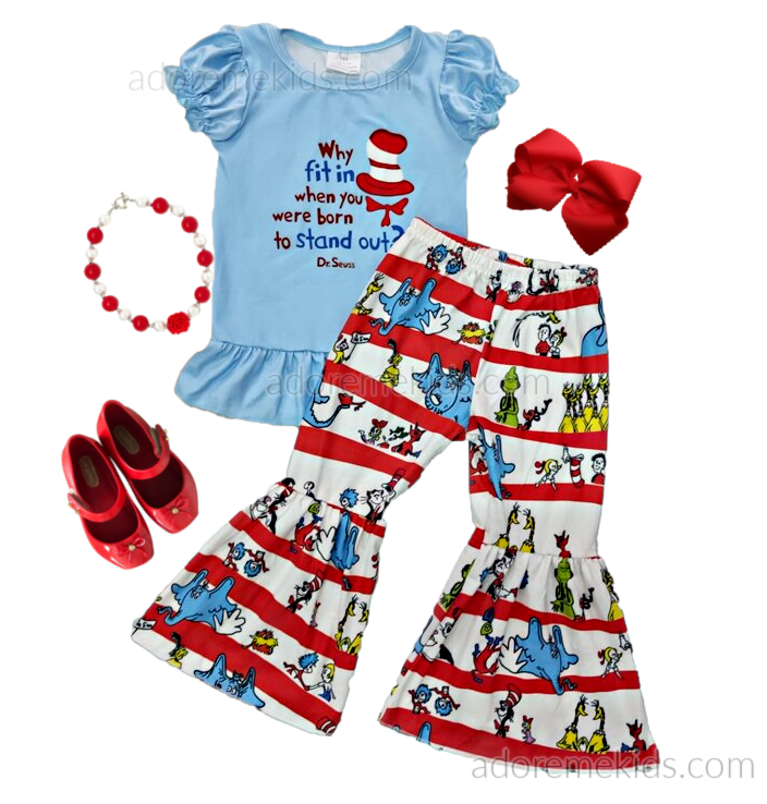 Dr Seuss Girls Boutique Outfit - Fall Bell Bottom Girls Pants Set - Why Fit In...Boutique Clothes for Baby, Toddler and Kids