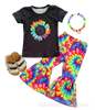Tie Dye Girls Bell Bottom Outfit- Rainbow Bell Bottom Girls Boutique Outfit with Sunflower Rainbow