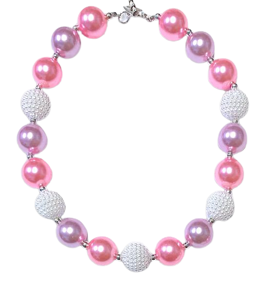 Necklace Girls Boutique Bubblegum Chunky - Pink Pearl