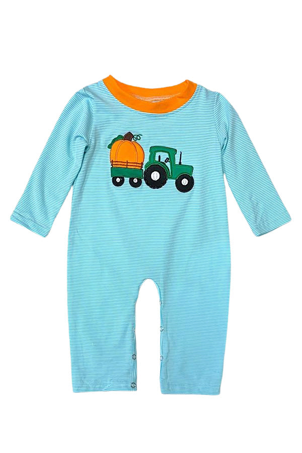 Pumpkin Boys Shirt Romper- Fall Tractor Blue Stripe Boys Shirt Romper - Matching Thanksgiving Boutique Clothes for Baby, Toddler