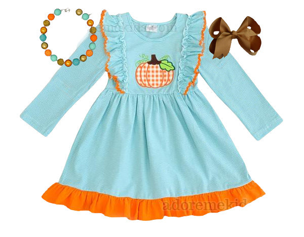 Pumpkin Girls Dress - Fall Pumpkin Blue Stripe Girls Dress - Matching Thanksgiving Boutique Clothes for Baby, Toddler