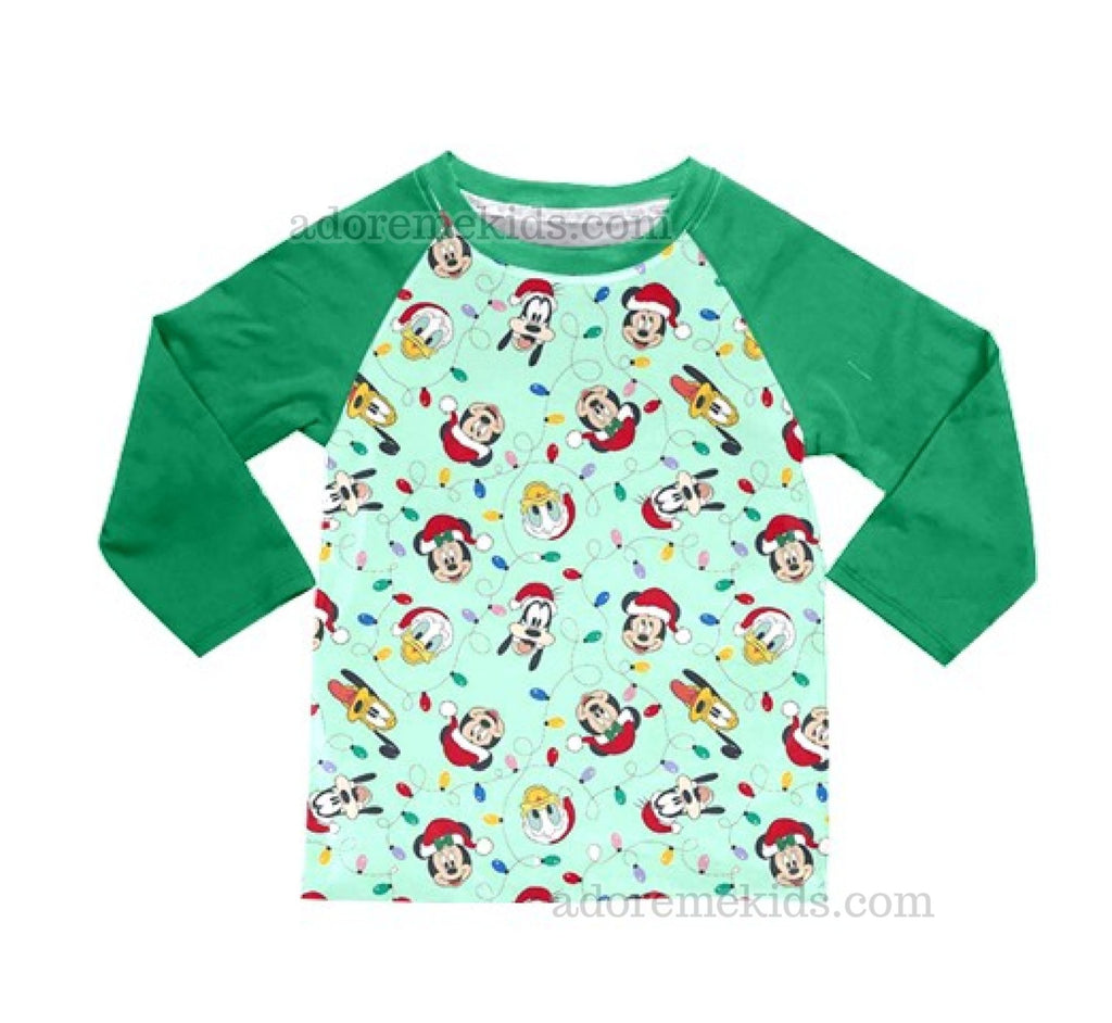 Disney Christmas Lights Boys Shirt - Minnie Mickey Mouse Boutique Shirt - Matching Winter Holiday Clothes for Baby, Toddler and Kids