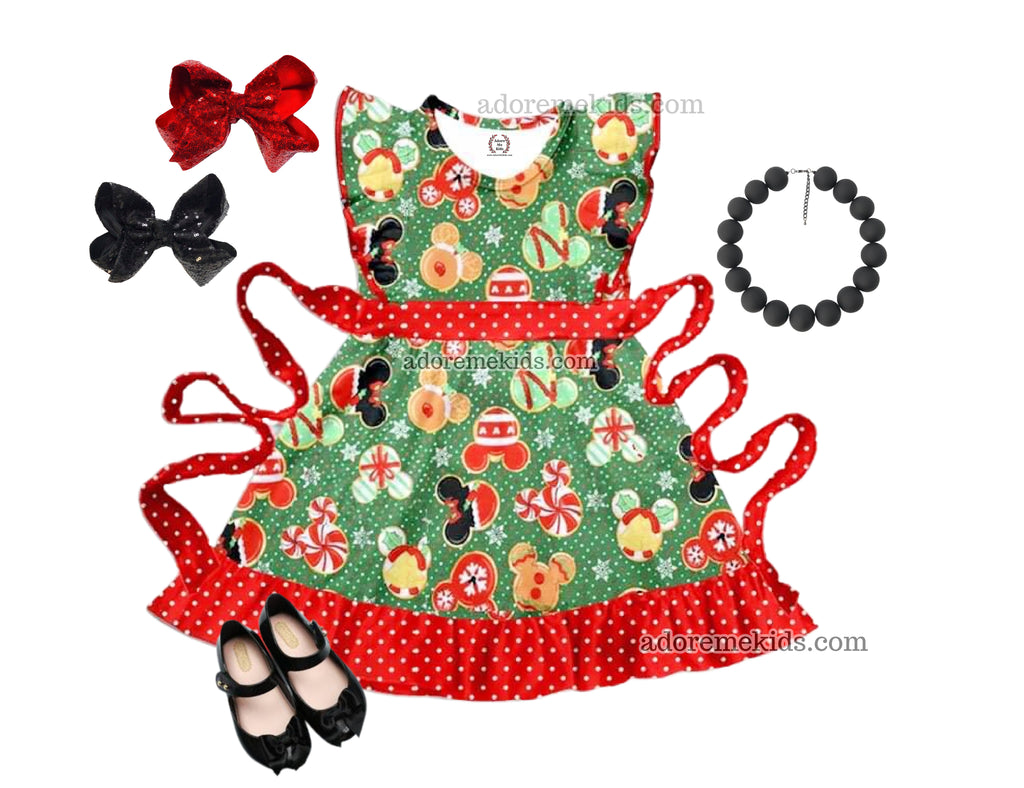 Minnie Mouse Christmas Girls Dress - Minnie Mickey Mouse Christmas Cookie Boutique Dress - Winter Holiday Clothes for Baby, Toddler and Kids