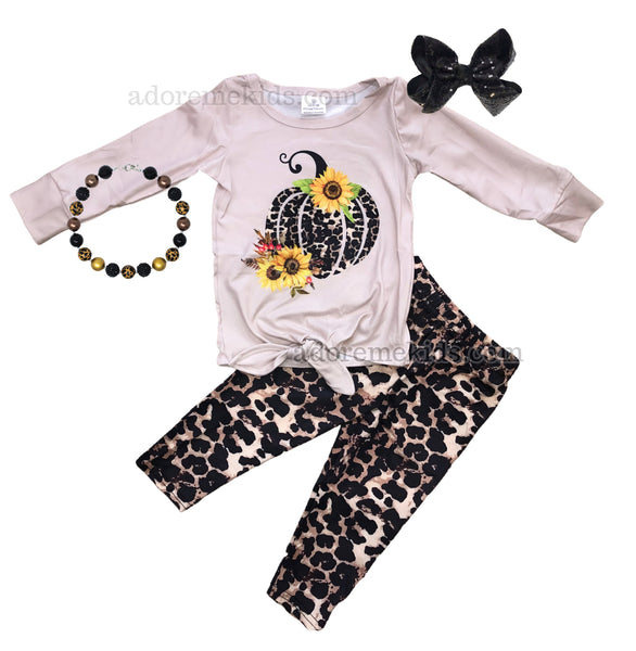 Pumpkin Leopard Girls Outfit - Fall Pumpkin Girls Pants Set - Thanksgiving Boutique Clothes for Baby, Toddler