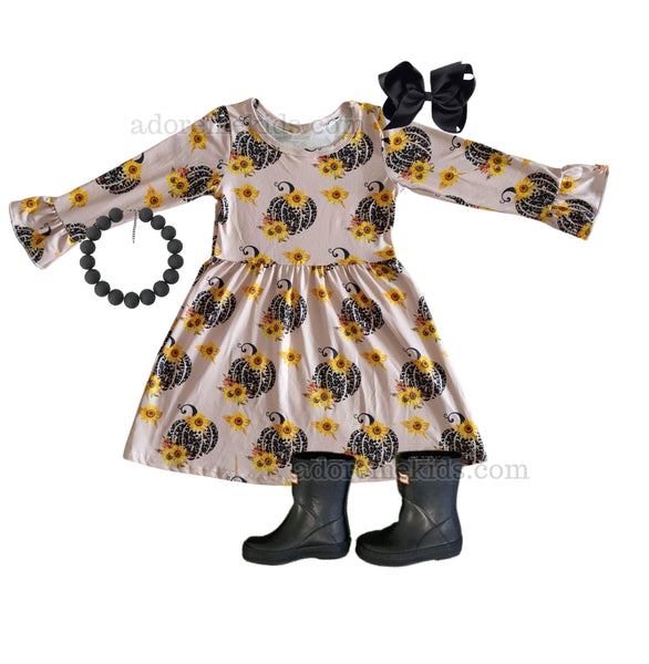 Pumpkin Leopard Girls Dress - Fall Pumpkin Sunflower Girls Pants Set - Thanksgiving Boutique Clothes for Baby, Toddler