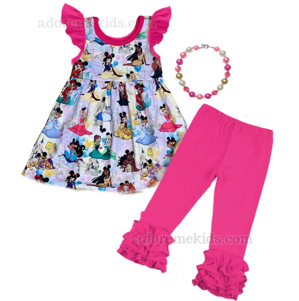 Disney Princess Girls Dress Outfit - Pink Princess Mickey Ears Boutique Dress Set with Frozen's Anna , Elsa, Snow White, Ariel and more!