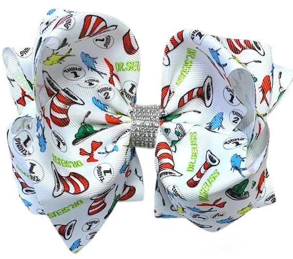 Dr. Seuss Hair Bow for Girls - Big Double Stacked 7in.  - Rhinestone Cat in the Hat Bow for Bab, Toddler and Girls
