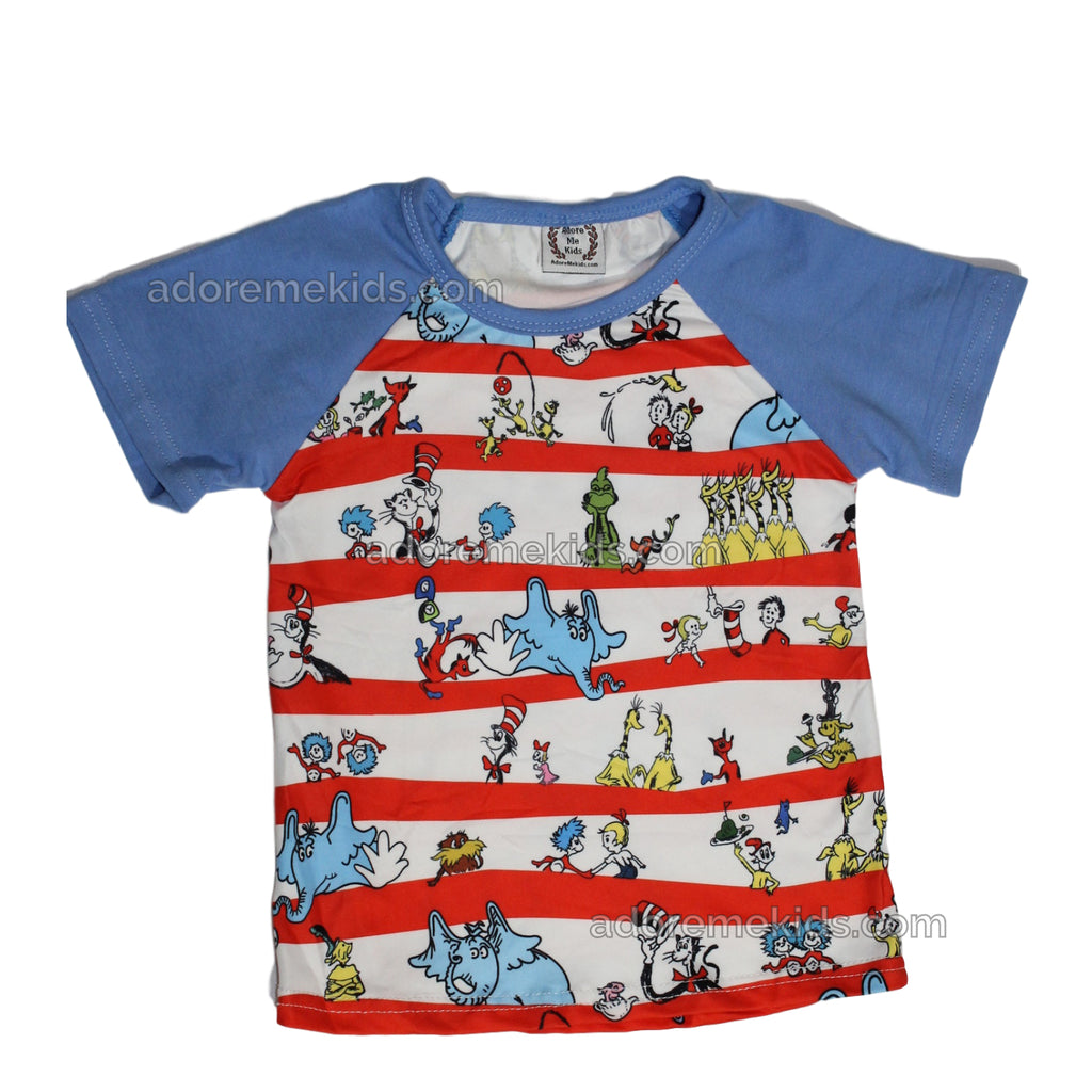 Dr. Suess  Boutique Boys Shirt Matching Raglan Style