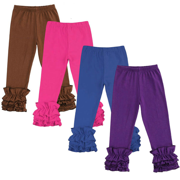 icing ruffle pants girl  pink purple blue brown black