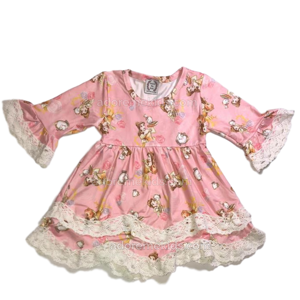 Beauty and the Beast Belle Boutique Girls Dress Pink with Crochet Lace
