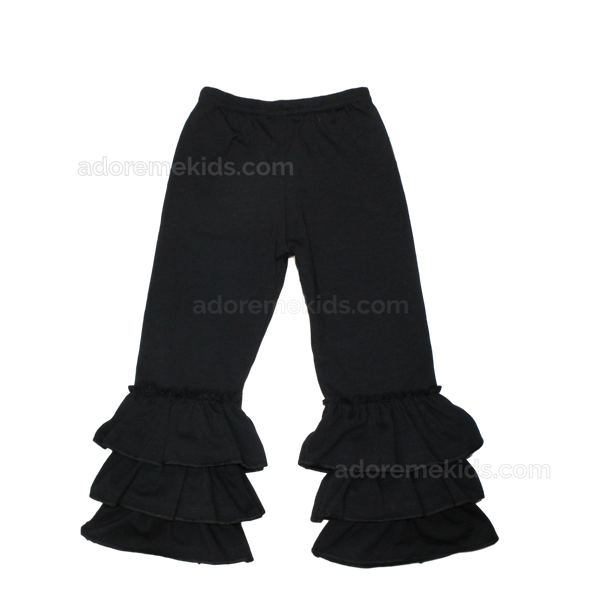 Pants- Triple Ruffle Black Pants