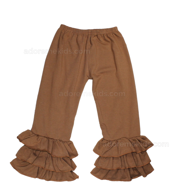 Pants- Triple Ruffle Brown Pants