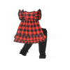 Buffalo Plaid Check Flannel Girls Boutique Holiday Clothing Dress Outfit for Baby, Toddler and Kids