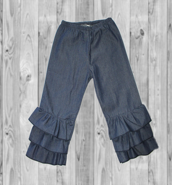 Pants- Triple Ruffle Denim Pants