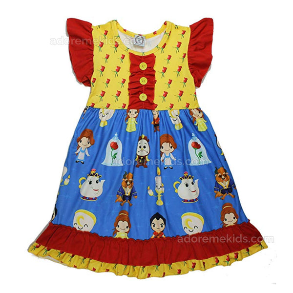 Beauty and the Beast Belle Princess Disney Boutique Dress for Girls and Toddlers
