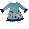 Frozen Disney Snow Queen Girls Boutique Dress with Anna Ice Princess, Elsa, and Olaf