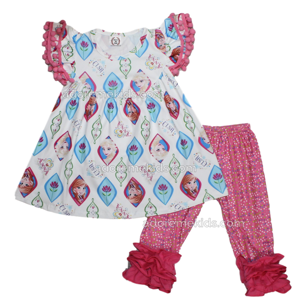 Frozen Disney Girls Boutique Ruffle Outfit with Anna and Elsa