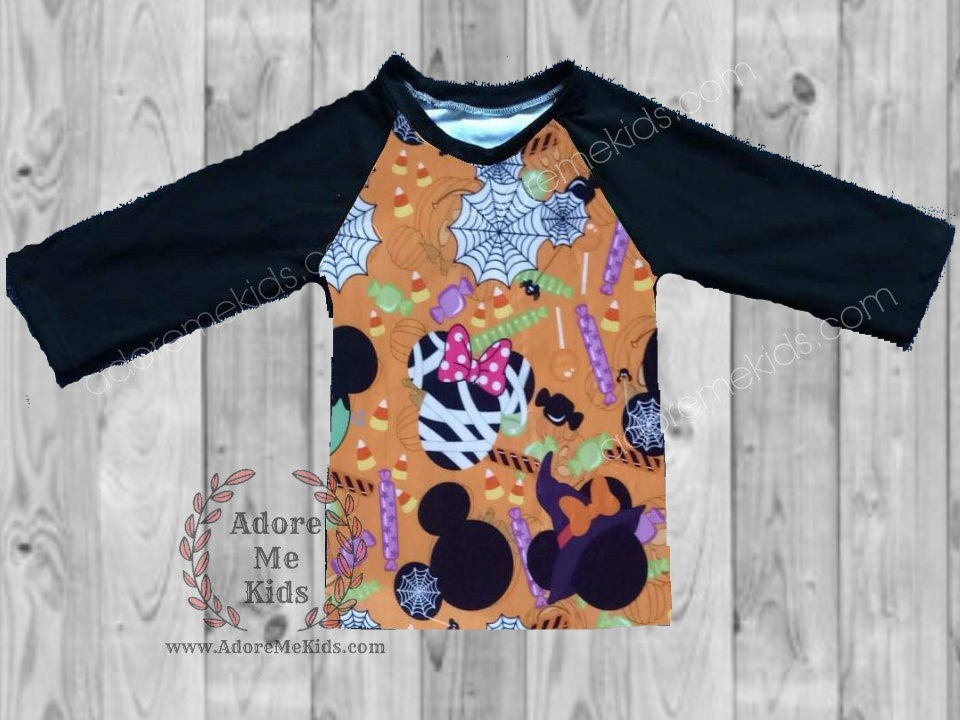 Shirt- Mickey Halloween Boys Raglan Shirt