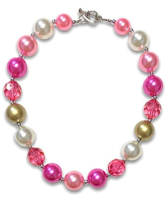 Necklace Girls Boutique Bubblegum Chunky - Pink Pearl and Gold