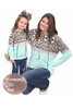 Mommy & Me Matching Teal Leopard Cheetah Hoodie for Girls - Fall Leopard Hoodie Shirt for Women