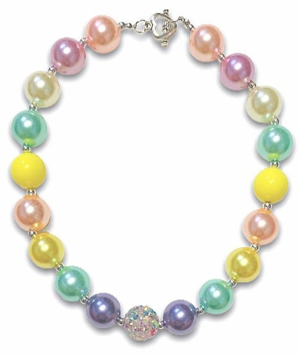 Necklace Girls Boutique Bubblegum Chunky - Rainbow Pastel Pearl