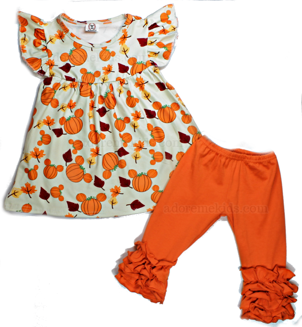 Mickey Minnie Fall Girls Outfit - Minnie Mouse Pumpkin Girls Outfit - Thanksgiving Disney Boutique Clothes -Baby, Toddler and Kids