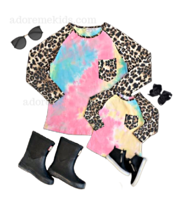Mommy & Me Matching Shirt - Tie Dye Leopard Fall Shirt for Girls - Boutique Matching Shirt for Women, Baby and Toddlers