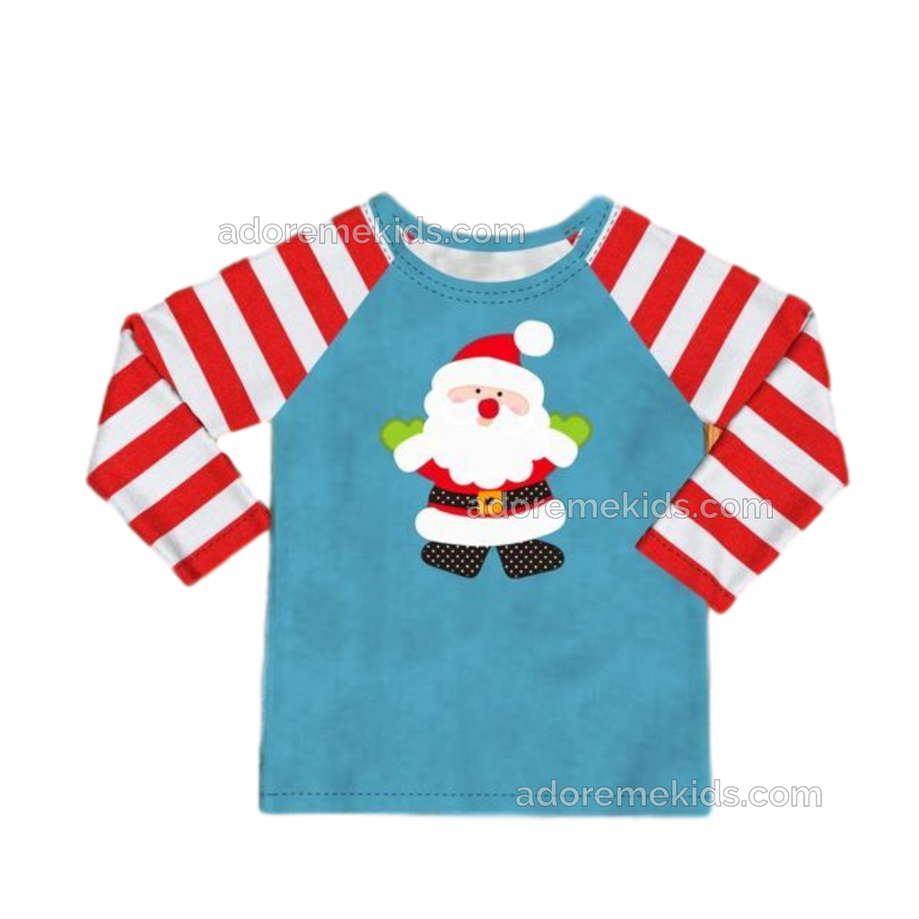 Christmas Santa Boys Toddler Boutique Outfit  with Holiday Red Stripes
