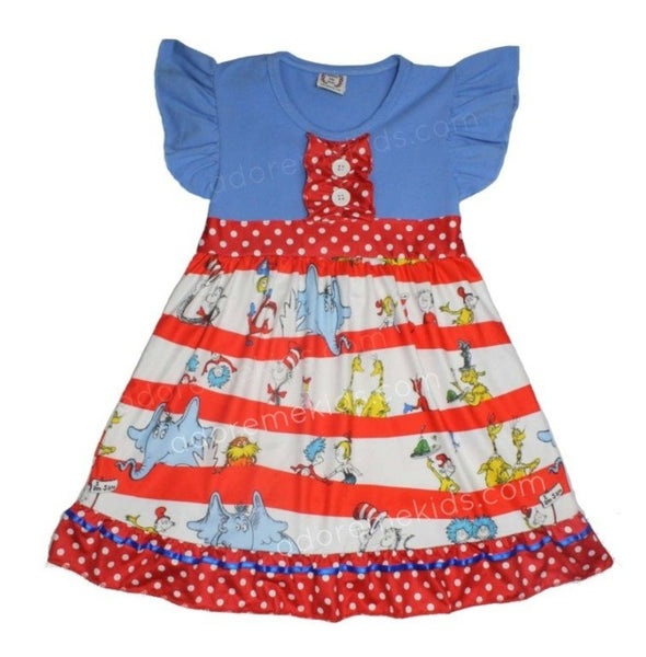 Dr. Seuss Girls Boutique Dress with The Grinch, Cat in the Hat, Thing 1 and Horton