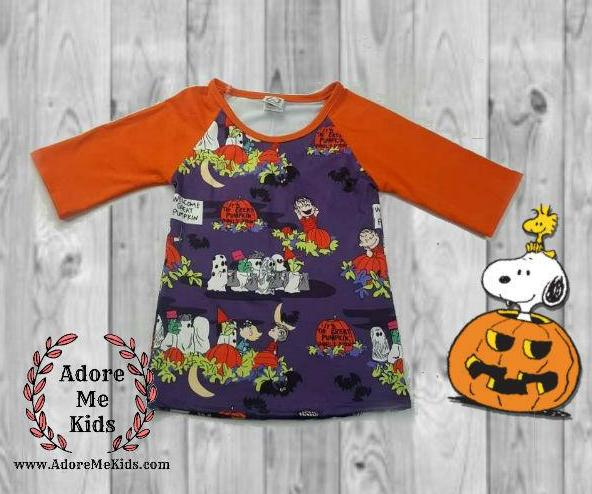 Shirt- Snoopy Peanuts Halloween Boys Raglan Shirt