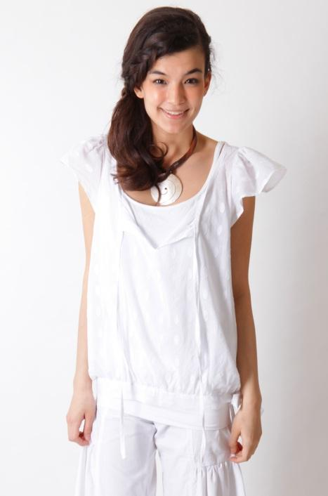 Short Sleeve Blouse With Banded Belt