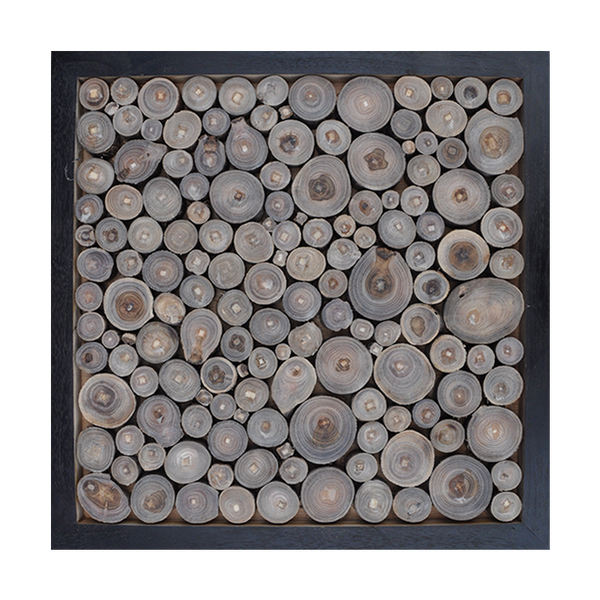 Art Wood Rounds in Black Frame Square