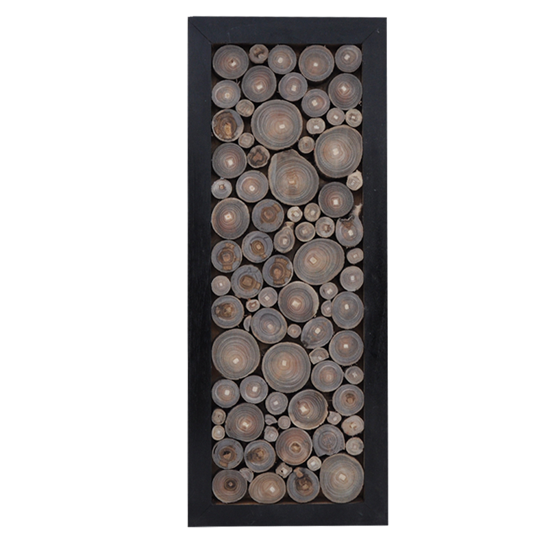 Art Wood Rounds in Black Frame Rectangular