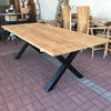 Recycled Table with Black Metal Cross Legs