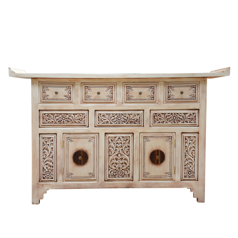 Asian carved buffet in distressed white.