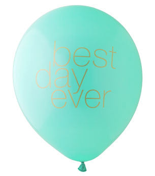 Best Day Ever Balloon: Aqua/Gold