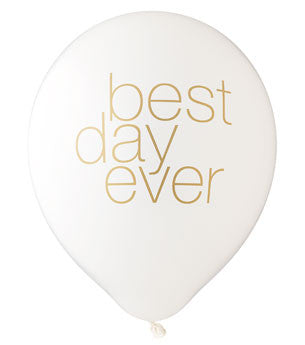 Best Day Ever Balloon: White/Gold