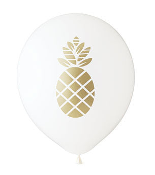 Pineapple Balloon: White/Gold