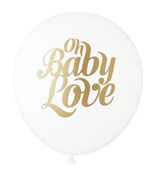 Baby Love Balloon: White/Gold