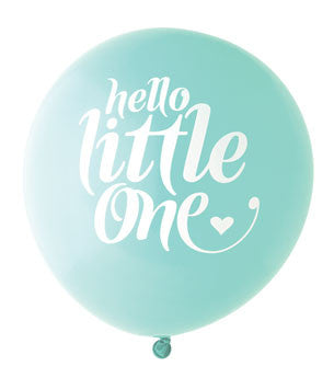 Hello Little One Balloon: Aqua/White