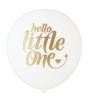 Hello Little One Balloon: White/Gold