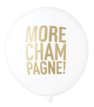 More Champagne Balloon: White/Gold