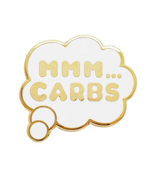 Carbs Thought Bubble Lapel Pin (White)